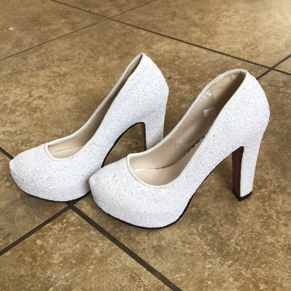 sparkling white shoes